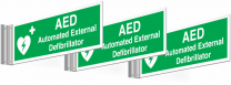 3 Pack AED Automated External Defibrillator Corridor Signs