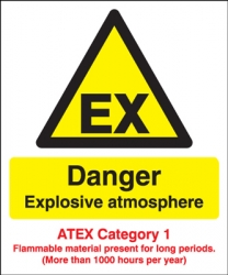 Danger Explosive Atmosphere Atex Category 1 Sign