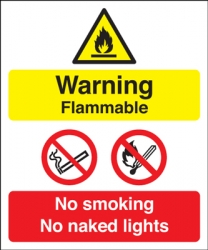 Warning Flammable No Smoking Multi Message Sign