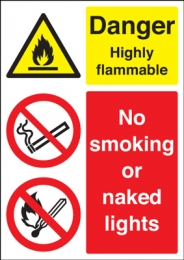 Danger Highly Flammable No Smoking Multi Message Signs