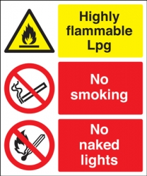 Highly Flammable Lpg & No Smoking Multi-Message Sign
