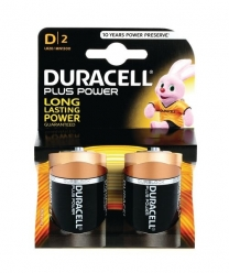 Duracell Plus D Type Batteries Pack Of Two