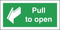 Pull To Open With Arrow Sign