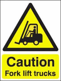 Caution Fork Lift Trucks Portrait Hazard Warning Signs