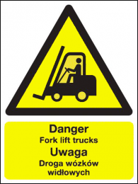 Danger Fork Lift Trucks Polish Language Sign