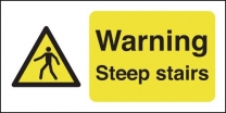 Warning Steep Stairs Landscape Warning Sign