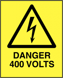 Danger 400 Volts Self-Adhesive Safety Labels 5-Pack