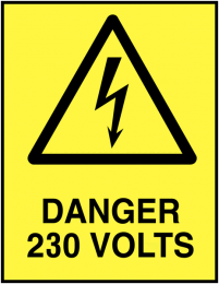 Danger 230 Volts Self-Adhesive Safety Labels 5-Pack
