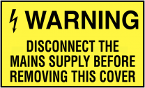 Warning Disconnect Mains Supply Safety Labels