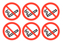 No Smoking Symbol Vinyl Safety Labels On-a-Sheet