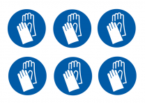 Wear Hand Protection Symbol Vinyl Labels On-A-Sheet