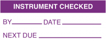 Instrument Checked By Date Next Due Write On Labels