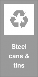 Steel Cans and Tins Self Adhesive Vinyl Recycling Labels