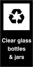 Clear Glass Bottles and Jars Self Adhesive Vinyl Recycling Labels