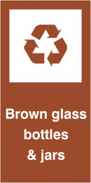 Brown Glass Bottles & Jars Self Adhesive Vinyl Recycling Labels