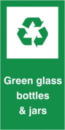 Green Glass Bottles & Jars Self Adhesive Vinyl Recycling Labels