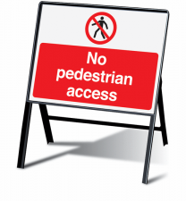 No Pedestrian Access Stanchion Information Signs