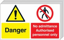 Danger & No Admittance Pack Of 6 Multi-Message Signs