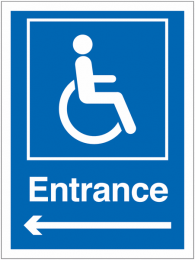 Wheelchair Accessible Entrance Arrow Left Sign
