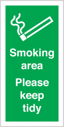 Smoking Area Please Keep Tidy Vinyl Safety Labels On-a-Roll