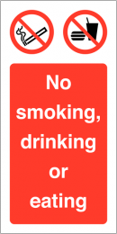 No Smoking Eating Or Drinking Vinyl Safety Labels On-a-Roll