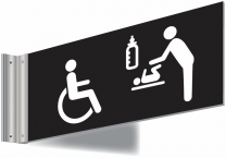 Wheelchair Baby Care Double Sided Washroom Corridor Sign