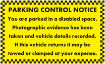 Parked In Disabled Space Parking Notice Stickers