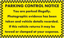 Vehicle Recorded Do Not Return Parking Notice Stickers