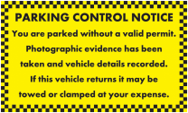 No Valid Permit Evidence Taken Parking Notice Stickers
