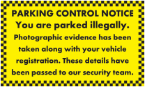 Vehicle Details Sent To Security Parking Notice Stickers