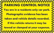 Residents Only Car Park Parking Notice Stickers