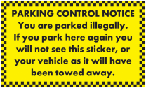 Vehicle Will Be Towed Away Parking Notice Stickers