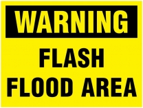 Warning Flash Flood Area Traffic Cone Sign