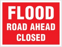 Flood Road Ahead Closed Traffic Cone Sign