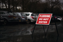 Flooding Do Not Enter Stanchion Signs