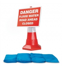 Hydrosack With Cone Sign Danger Flood Water Road Ahead Closed