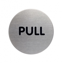 Pull Picto Brushed Stainless Steel Door Sign