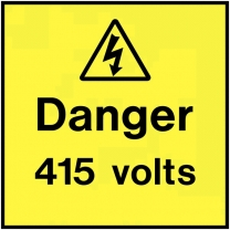Danger 415 Volts On The Spot Electrical Label