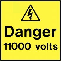 Danger 11000 Volts On The Spot Electrical Label