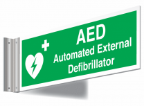 AED Automated External Defibrillator Double Sided Corridor Sign