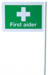 First Aider Flag Desk Or Wall Mountable