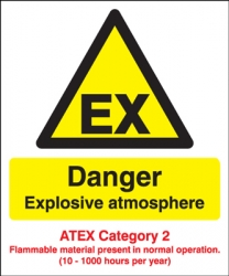Danger Explosive Atmosphere Atex Category 2 Sign
