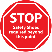 STOP Safety Shoes Required Beyond This Point Anti-Slip Floor Sign