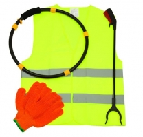 Litter Picking Kit With High Visibility Vest And Gloves