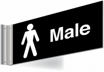 Male Toilets Double Sided Washroom Corridor Sign