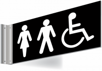 Unisex Accessible Toilets Double Sided Washroom Corridor Sign
