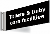 Toilets And Baby Care Facilities Double Sided Washroom Corridor Sign